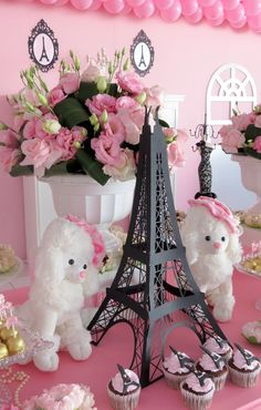 A Paris Baby Shower is such a beautiful theme for a mommy-to-be. Here youll find ideas for invites, decorations, games, Paris Themed Birthday Party, 10th Birthday Parties, Birthday Party Themes, Spa Birthday, Paris Themed Parties, Chanel Baby Shower, Paris Baby Shower, Barbie Birthday, Barbie Party