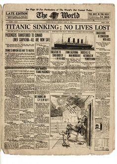 15 de abril de 1912, notícias sobre o afundamento do Titanic