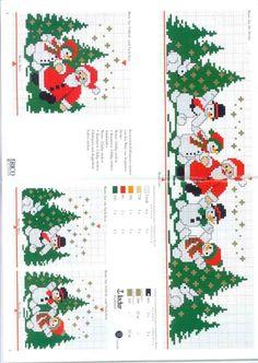 Cross stitch snowmen, santa and christmas trees Xmas Cross Stitch, Cross Stitch Borders, Cross Stitch Charts, Cross Stitch Designs, Cross Stitching, Cross Stitch Embroidery, Embroidery Patterns, Cross Stitch Patterns, Christmas Border