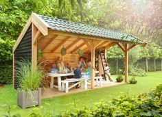 Vrijstaande Douglashout tuinoverkapping met kapschuur dak Geimpregneerd