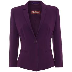 Max Mara Studio Vicino 3/4 sleeve blazer (7,455 PHP) ❤ liked on Polyvore featuring outerwear, jackets, blazers, purple, sale, 3/4 sleeve jacket, 3/4 sleeve blazer, maxmara, three quarter jacket and collar jacket