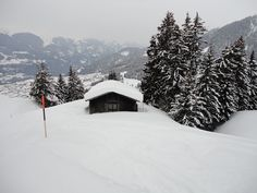 Cabin in the Alps...it can only be reached in wintertime by skis.