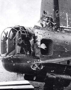 Flak damage to the tail of an RAF Lancaster bomber