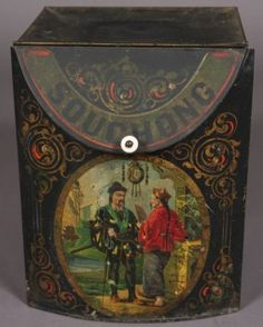 century Victorian tole chinoiserie tea bin or tin with lettering 'Souchong' and scene of Chinese men, slanting hinged lid on curving front Tea Canisters, Tea Tins, Art Nouveau, Tin Containers, Tea Box, Tea Caddy, Victorian Decor, Vintage Tins, Tin Boxes