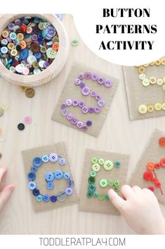 This Button Patterns Activity may look simple, but you'll be amazed at how many important areas of development it improves and exercises in children. Toddler Learning Activities, Preschool Learning Activities, Alphabet Activities, Motor Activities, Sensory Activities, Educational Activities, Preschool Activities, Play Activity, Sensory Play