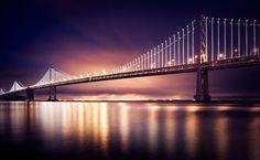 "Long exposure photography of ""The Bay Lights"" art installation on San Francisco's Bay Bridge"