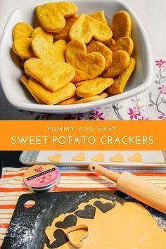 potato crackers recipe - easy, healthy recipe for kids Sweet potato crackers recipe. Bake this yummy and easy crackers recipe for a healthy snack. Bake this yummy and easy crackers recipe for a healthy snack. Meals Kids Love, Healthy Snacks For Kids, Easy Snacks, Easy Healthy Recipes, Baby Food Recipes, Easy Meals, Healthy Snacks Vegetarian, Healthy Recipes For Kids, Healthy Homemade Snacks