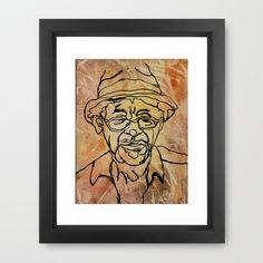 Wisdom Wears a Hat Framed Art Print by Mike Brennan - $35.00 #man #hat #wisdom #line #contour #drawing #watercolor #art