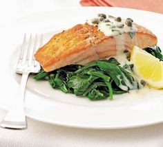 Salmon & spinach with tartare cream recipe - Recipes - BBC Good Food Salmon Recipes, Fish Recipes, Seafood Recipes, Recipies, Bbc Good Food Recipes, Cooking Recipes, Healthy Recipes, Bbc Recipes, Healthy Breakfasts