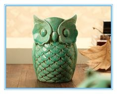 15 cm tall hot sell hollow creative cute vintage green ceramic owl lamp oil burner home decoration