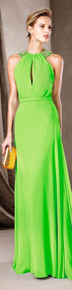 Pronovias 2017 green dress women fashion outfit clothing style apparel @roressclothes closet ideas