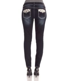 Another great find on #zulily! Kaylee Dark Wash Embellished Skinny Jeans by WallFlower Jeans #zulilyfinds