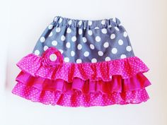 Cute little Valentine's inspired skirt. Hot Pink Skirt, Gray Skirt, Ruffle Skirt, Little Valentine, Valentines, Pink Polka Dots, Sewing For Kids, Pink Grey, Little Girls