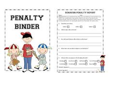 A baseball themed bahavior management system that would be perfect for a sports themed classroom! It includes a clip chart and printables to send home when students score a home run and when they have strikes! I love keeping it in a penalty binder so that is organized for parent conferences!