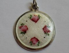 VTG STERLING SILVER WHITE GUILLOCHE ENAMEL AEFCO CHARM HAND PAINTED PINK ROSE #AEFCo