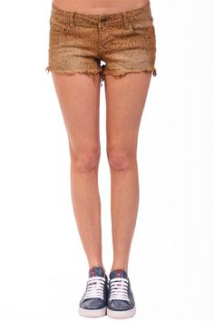 Printed Denim Cut-Off Short- Bronze Snake at Blush Boutique Miami - ShopBlush.com