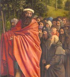 "St. Christopher, detail, on wood, 11' 5"" x 7' 6"" (ClosertoVanEyck) Ghent Altarpiece, Jan Van Eyck, Mystic, Painting, Detail, Wood, Fashion, Moda, Woodwind Instrument"