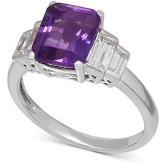 Amethyst (2-1/6 ct. t.w.) and White Topaz (1-1/2 ct. t.w.) Ring in... ($80) ❤…