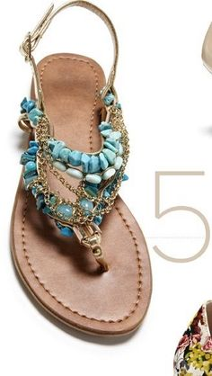 Turquoise Stone Bead Sandals Love these sandals! Cute Shoes, Me Too Shoes, Flat Sandals, Shoes Sandals, Dsw Shoes, Gladiator Sandals, Leather Sandals, Style Board, Shoe Boots