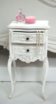 Classical White Bedside Table - Sweetpea & Willow London