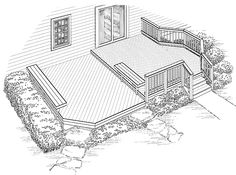 Eplans Deck Plan - Two Floating Benches and a Bayed Alcove from Eplans - House Plan Code HWEPL74967
