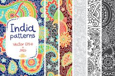 Indian patterns in Vector and JPEG by whynot on @creativemarket
