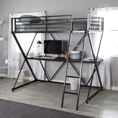 Your kid will be living in the future when you add this Black Metal Twin size Bunk Bed Loft with Desk and Ladder to his or her room. The bed is large and comfortable for a good night's sleep, and the