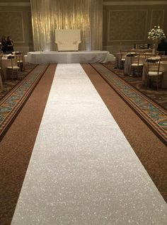 GLITTER Aisle Runner Ships Today Pearl White Non by VowWowDecor