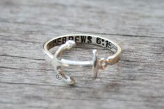 Custom Personalized Anchor Sterling silver ring - Hebrews 6:19 Navy - USN - Military on Etsy, $42.00