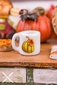 Jar Pumpkin Halloween Ceramic Dollhouse Miniatures Tableware Room /& Garden Decor