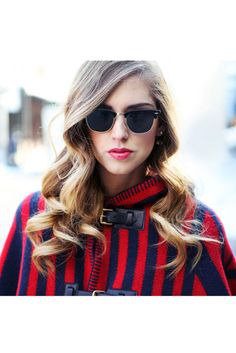 Perfect blow-dry tutorial by Redken. Photo: Chiara Ferragni at styled by Redken. The Blonde Salad, Clubmaster Sunglasses, Sunglasses Women, Trends, Models, Red Riding Hood, Little Red, Front Row, Outfit