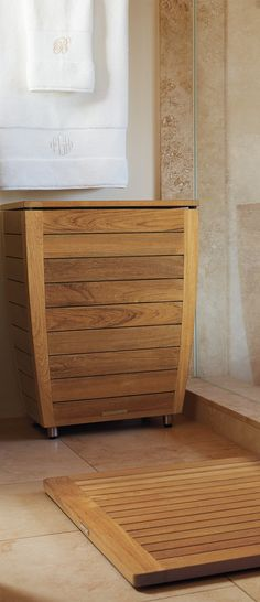 Expertly constructed, our kiln-dried, sustainably harvested Teak Hamper performs beautifully in and around the shower.