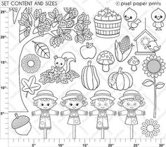 Cute Autumn Elements Digital stamps Clipart