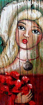 Detail Image for art *FOLK ART SAINT ANGEL w PENDANT & FLOWERS