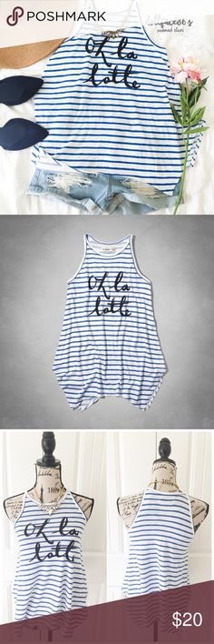 "NWT A&F Kids Oh La Latte Tank This cute tank has 'oh la latte' across the front in a brush style font with blue brush stroke styled stripes on white & an symmetrical hemline. It's preppy & cute for Summer{actual color of item may vary slightly from pics}  *chest:16.5"" *waist:22"" *length:24.5"" *material/care:60%cotton 40%polyester *fit:kids medium fits like women's xs/sml *condition:good/NWT no damage   20% off bundles of 3/more items No Trades  NO HOLDS No transactions outside Poshmark  No…"
