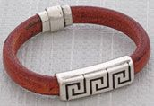 Greek Whiskey Regaliz™ Leather Bracelet  - See all project components @ AntelopeBeads.com
