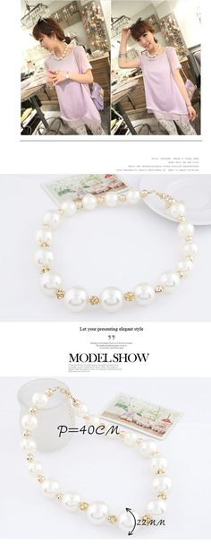 Handmade White Simple Pearl Design Alloy Korean Necklaces www.asujewelry.com