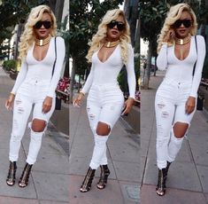 Pinterest: @BrittanyNiemer☼ All White Party Outfits, All White Outfit, White Dress, Bodysuit Outfit Jeans, Lauren Davis, Fashion Pants, Women's Fashion, Autumn Fashion, Fashion Outfits