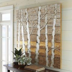 Use barnwood variations of color and where it is slightly yellow empahsize the yellows (and the gray) to match the furniture. Birch Trees Wooden Plank Art