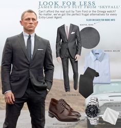 Bond suits - Look for Less James Bond's Suit from Skyfall James Bond Suit, Bond Suits, James Bond Skyfall, James Bond Style, Omega James Bond, James Bond Watch, Sharp Dressed Man, Well Dressed Men, Estilo James Bond