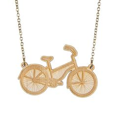 Bicycle necklace  laser cut wood by sugarandvicedesigns on Etsy