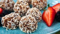 Anytime Snack: Energy Balls - on Steven and Chris. Next time I would add a bit more rice cereal and then roll it in cocoa powder before the coconut. Gf Recipes, Snack Recipes, Dessert Recipes, Cooking Recipes, Healthy Recipes, A Food, Good Food, Yummy Food, Desert Recipes