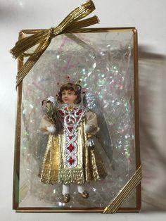 Blumchen Victorian Gold Dresden Die Cut Ornament Vintage Style German Boy Angel
