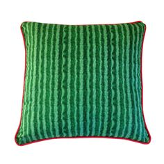 Watermelon cushion (back) green rind, watermelon with seeds on front and wrapped in watermelon piping.