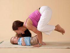 Mama and baby yoga! Crow Pose!