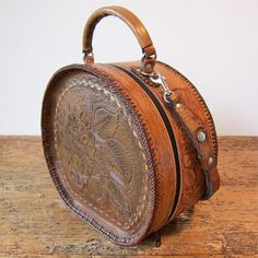 Handmade Hand Tooled Hatbox Handbag Oneofakind by DunleerPlace, $129.00