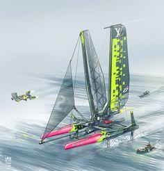Ultra Sail Boat, Ian Galvin on ArtStation at https://www.artstation.com/artwork/4RQQL