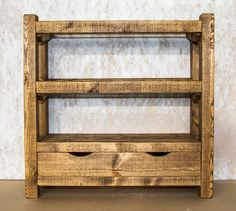 Rustic wooden shoe rack with drawer, reclaimed pine shoe shelf, rustic pine drawer shoe storage.