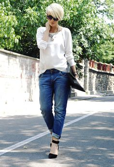 Long pixie, white top, boyfriend jean! Like it all!