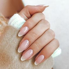 French Nails, French Manicure Nails, Manicure Ideas, Nails French Design, Nail Ideas, Almond Nails French, Pointy Nails, Nude Nails, My Nails
